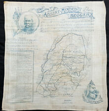 1899 Daily Mail Antique Map South Africa 2nd Boer War Handkerchief, Kipling Poem