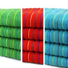 100% COTTON STRIPED BEACH TOWEL / BATH SHEET IN TEAL RED GREEN STRIPE JUMBO SIZE