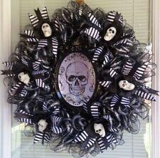 MIRROR, MIRROR on the ... SKULL ~ Halloween Deco Mesh Wreath SKULLS, BLACK ROSES