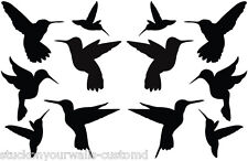 STICKERS WALL DECAL HUMMING BIRDS SET OF 12 ART SILLHOUETTE BABY BEDROOM NURSERY