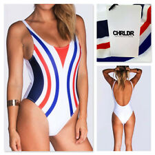 NWT - CHRLDR white red blue stripes one piece swimsuit - S