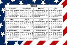 AMERICAN FLAG USA YEARLY OFFICE KITCHEN FRIDGE 2020 CALENDAR MAGNET