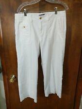 Women's Chaps Wide Leg Cropped White Pants Size 6