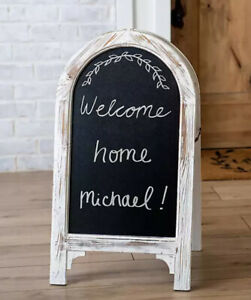 Double Sided Chalkboard Wooden Farmhouse Rustic White Wash Round Arch ChalkBoard