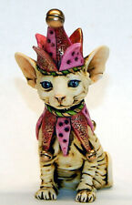 Harmony Kingdom Artist Neil Eyre Designs Sphynx Cat kitten elf jester pink gold