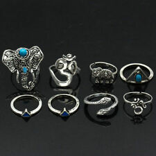 8PCS Boho Tribal Turquoise Jewelry Rings Hippie Elephant Snake Stacking Rings