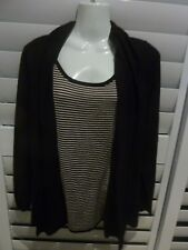 DAVID JONES Petites Large Long Sleeve 2 In 1 Free Fitting Black/Striped Knit Top