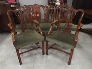 Fine Quality Set of Eight 8 Solid Mahogany Antique Style Dining Chairs