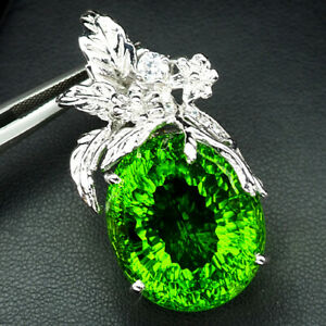 PERIDOT GREEN APPLE CONCAVE 40.60 CT. SAPP 925 STERLING SILVER PENDANT JEWELRY