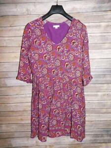 Garnet Hill 14 Purple Orange Floral Bohemian Pocket Detail Dress 3/4 Sleeve V lg
