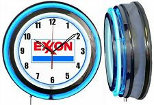"""Exxon Gas and Oil 19"""" Double Neon Clock Blue Neon Man Cave Garage Gas Station"""