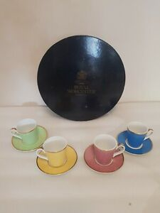 Royal Worcester In Celebration Of HRH 80th Birthday Coffee Espresso Cups Saucers