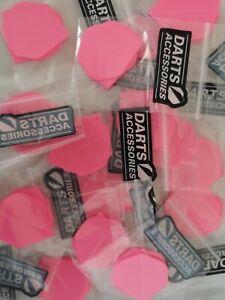 5 x Sets of 3 Florescent Pink Dart Flights - Standard Shape. Designa Darts