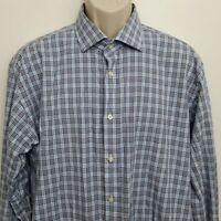 Thomas Dean Mens Button Up Shirt XL Blue Black Plaid Long Sleeve 100% Cotton