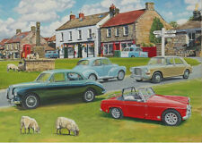 MG ZA Magnette Midget Morris Minor 1300 Classic Car MG Owners Club Birthday Card
