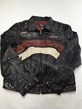 Womens WILSONS Black Leather Racing Biker Jacket Sz XL Motorcycle