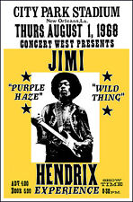 Jimi Hendrix Experience 1968 New Orleans City Park Concert Poster