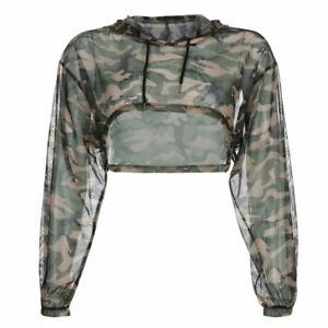 Harajuku Camouflage Crop Top Female T-Shirt Mesh Sheer Sexy Hooded Tshirts Women