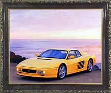 Yellow Ferrari Testarossa Transportation Old Car Wall Decor Art Framed Picture