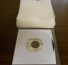 "Pack of 100, 45 RPM Plastic Record Sleeves (7 3/8"" x 7 3/8"", 4 mil thickness."