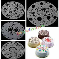 4 Pcs Variety Cake Cupcake Template Stencil Mold Birthday Spiral Decoration New