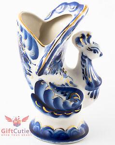 Porcelain Gzhel Gold NAPKIN HOLDER Bird Peafowl figurine handmade in Russia
