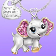 Cute Elephant Rhinestone Pendant Never Forget That I Love You Necklace Gift