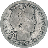 1907 S Barber Quarter 90% Silver About Good AG