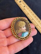 """Antique Victorian Cameo Portrait Hand Painted Porcelain Gold 2"""" Brooch Pin 1870s"""