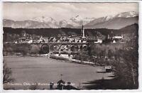 Ansichtskarte Traunstein/Oberbayern mit Watzmann und Hochkalter - schwarz/weiß