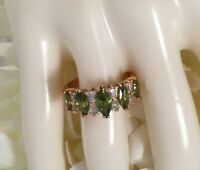 Vintage Jewellery Gold Ring Peridot and White Sapphires Antique Deco Jewelry 7 O