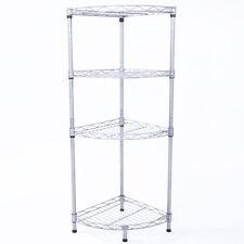Corner 4 Tier Wire Rack Shelving Shelf Storage Kitchen Bathroom Organizer
