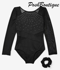 NWT JUSTICE Leotard Black Sparkle Long Sleeve Dance Gymnastic 7 10 12 14 18 PLUS