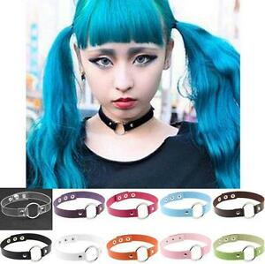 Fashion Favorite Punk Goth  Leather Rivet O-Ring Collar Choker Funky Necklace