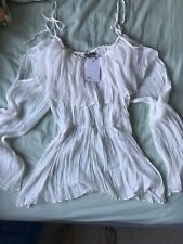 Asos White Off The Shoulder Crinkle Peplum Top Size 18