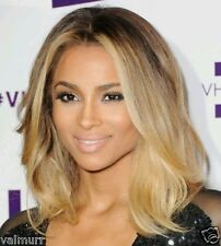 Custom Celebrity Ciara Lace Front Brazilian 2 Tone Wavy Ombre Human Hair Wig