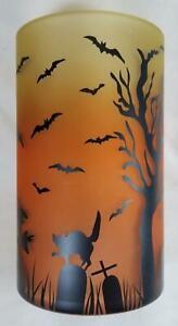 Yankee Candle Hurricane Glass Jar Holder: Halloween Orange Black Witch Bats Cat
