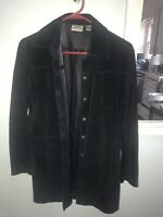 CHICO'S Suede Leather Jacket Fully Lined BLACK Chicos Size 0