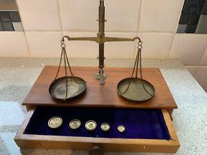 Vintage Precision Brass Pan Weighing Balance Scales. Weights, Wood Base & Drawer