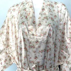 Floral Satin Kimono Robe Long  Size Large White With Colorful Print Romantic