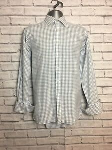 Thomas Pink Mens Blue And White Check Shirt 14 1/2 Inch Collar office wear