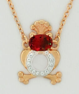 TOURMALINE 0.86 & WHITE SAPPHIRES NECKLACE 14K ROSE GOLD PLATED ** NWT **