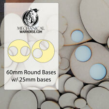 3x 60mm Lipped round base Miniature Tabletop wargames