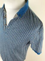 Mens Ted Baker Taza Polo Shirt Blue Geometric Slim 40 Chest Size 4 Large