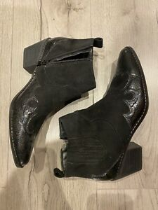 Black Leather & Suede Ankle Cowboy Boots / Size / New