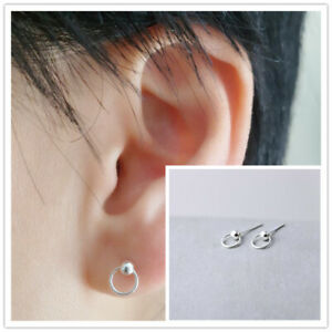 Shiny Solid 925 Sterling Silver Small Ball with Loop Circle Stud Earrings GiftUK