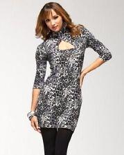 NWT bebe leopard black cutout stretchy sweater bodycon top dress sexy XS 0 2