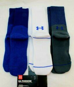 New UA PHENOM 3 Pair Size 8-12 Blue / Gray / White Crew Men's Sock MSRP $20