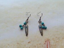 HIPPIE GYPSY TRIBAL BOHO TURQUOISE BEADS METAL FEATHER CHARM WIRE EARRING HOOKS