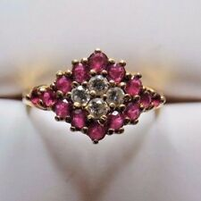 LADIES DIAMOND AND RUBY CLUSTER RING 14K YELLOW GOLD SIZE 6.25